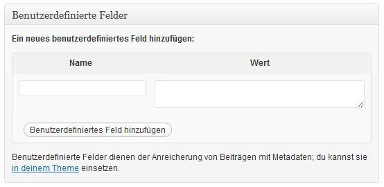 Wordpress Benutzerdefinierte Felder