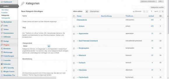 Wordpress Kategorien hinzufügen