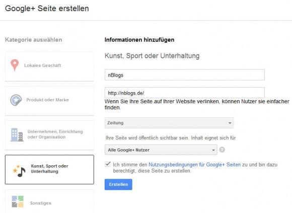 Google+ Seite für Online Magazine erstellen
