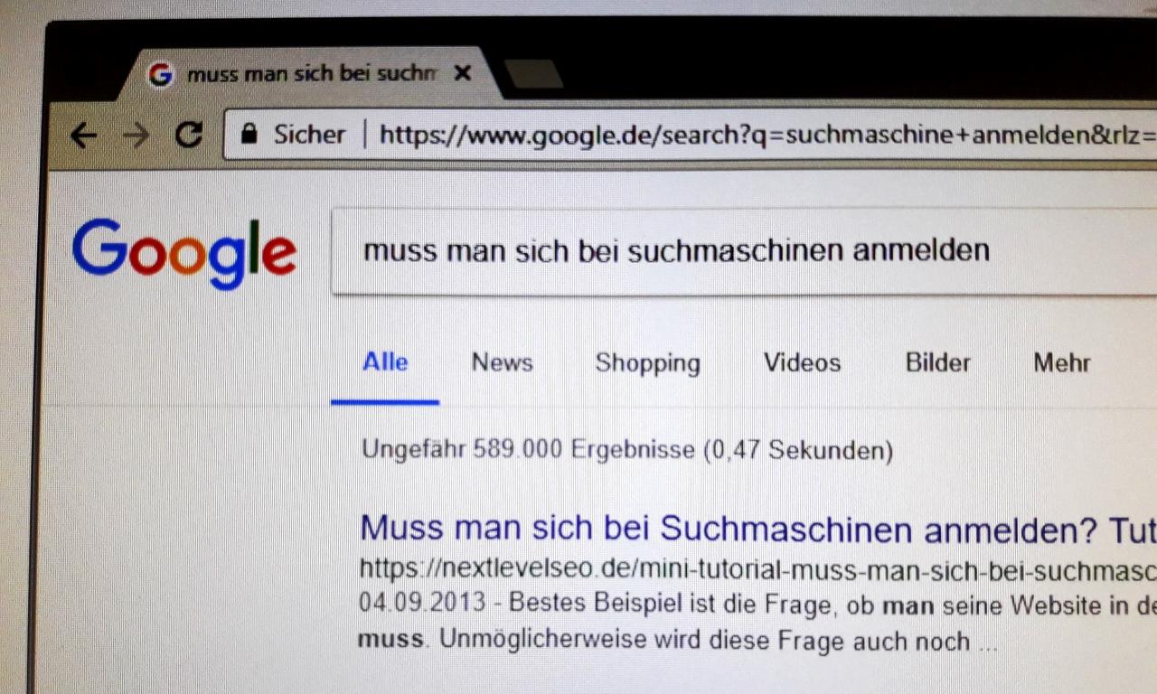 Eigener Screenshot: Muss man sich bei Suchmaschinen anmelden?