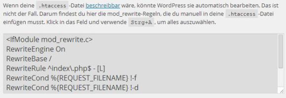 Wordpress Permalinks: .htaccess überarbeiten