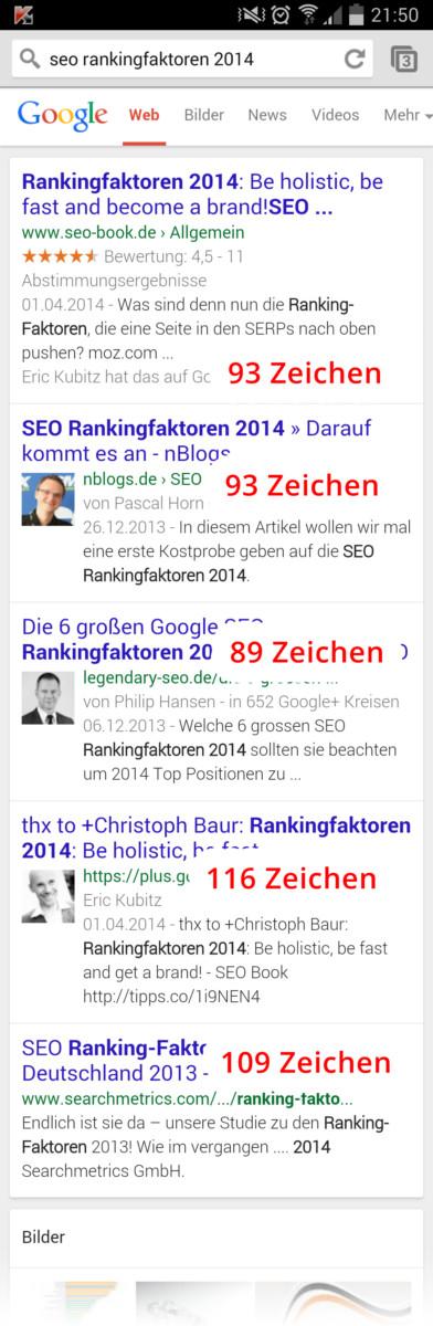 Meta Descriptions in den mobilen Suchergebnissen