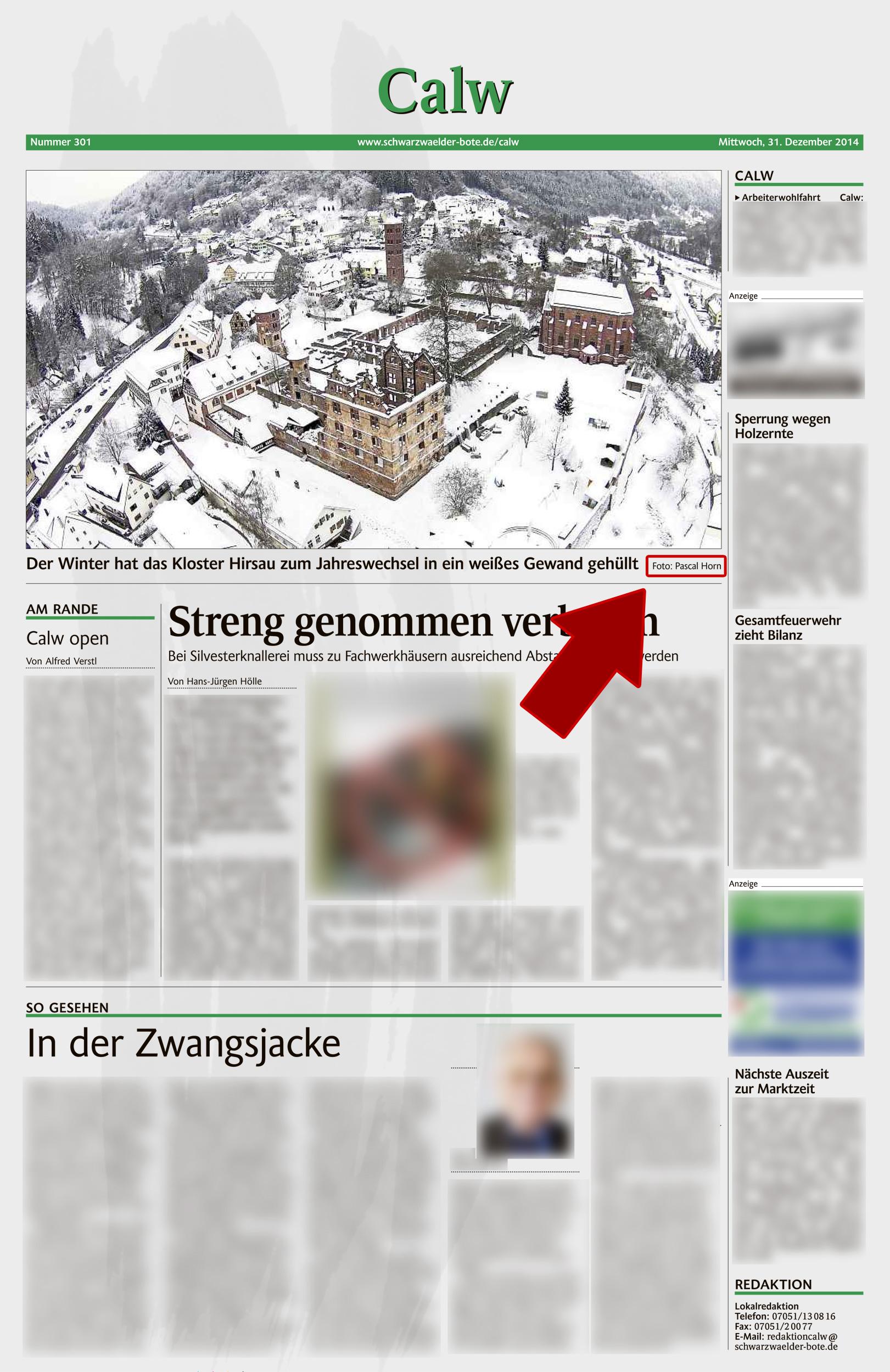 Schwarzwälder Bote bringt mein Bild vom verschneiten Hirsauer Kloster