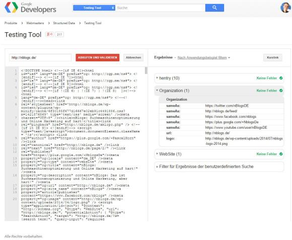 Google Testing Tool wurde überarbeitet und erscheint in neuem Design. Screenshot.