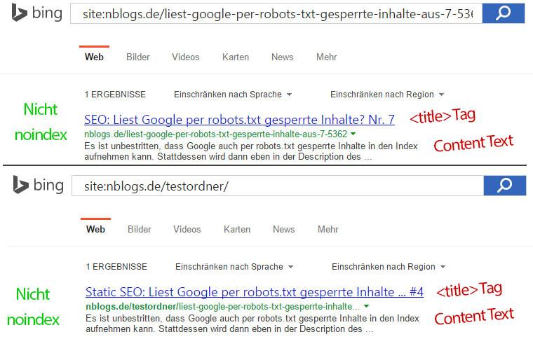 Bing Suchergebnis, obwohl die URLs per robots.txt gesperrt sind