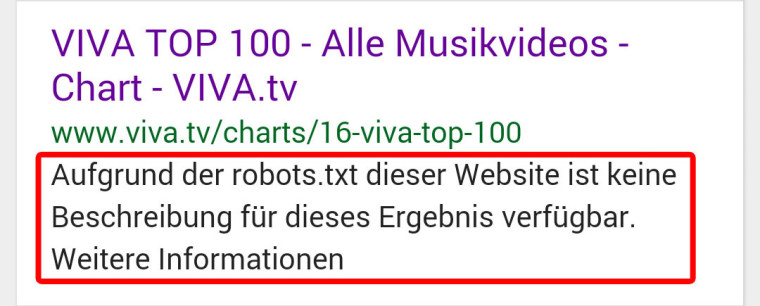Per robots.txt gesperrter Inhalt taucht in den Suchergebnissen bei Google auf