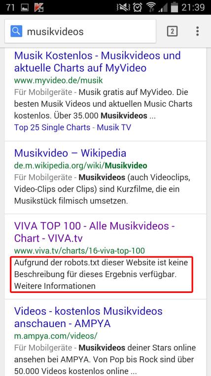 """Suchergebnisseite zu """"musikvideos"""": viva.tv auf Platz 4, per robots.txt gesperrt"""
