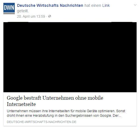 """Deutsche Wirtschafts Nachrichten: """"Google bestraft Unternehmen ohne mobile Internetseite"""""""