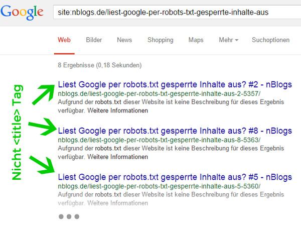 Google Suchergebnisse bei gesperrten Inhalten durch die robots.txt