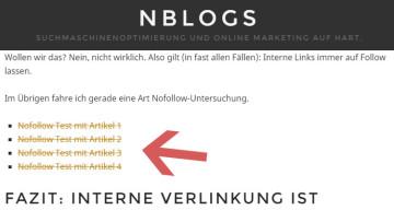 SEO Nofollow Test mit internen Content-Links