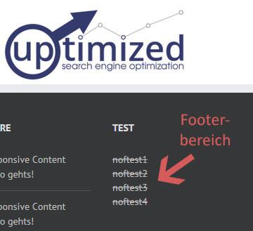 SEO Nofollow Test mit extern eingehenden Nofollow-Links im Footer-Bereich von uptimized.ch
