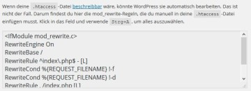 .htaccess in den WordPress-Permalink-Einstellungen