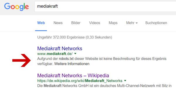 Mediakraft Suchergebnis - Robots.txt Fehlermeldung