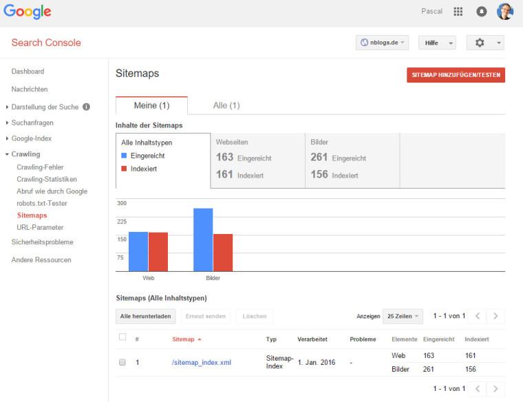 Google Search Console: Übermittlung einer XML-Sitemap