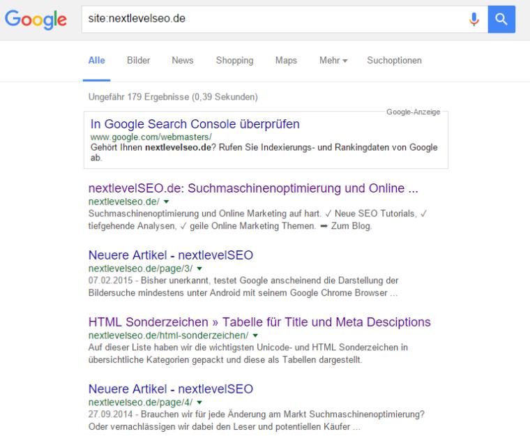 site:-Abfrage in der Google Suche