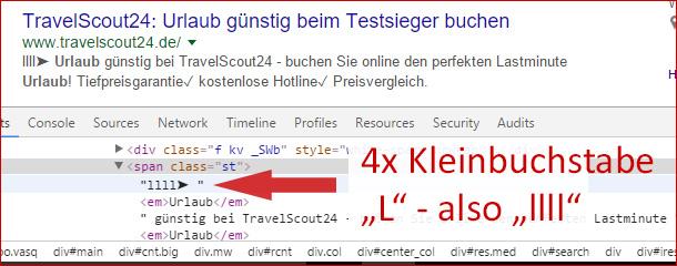 Travelscout24 Meta Description Hack mit Sonderzeichen