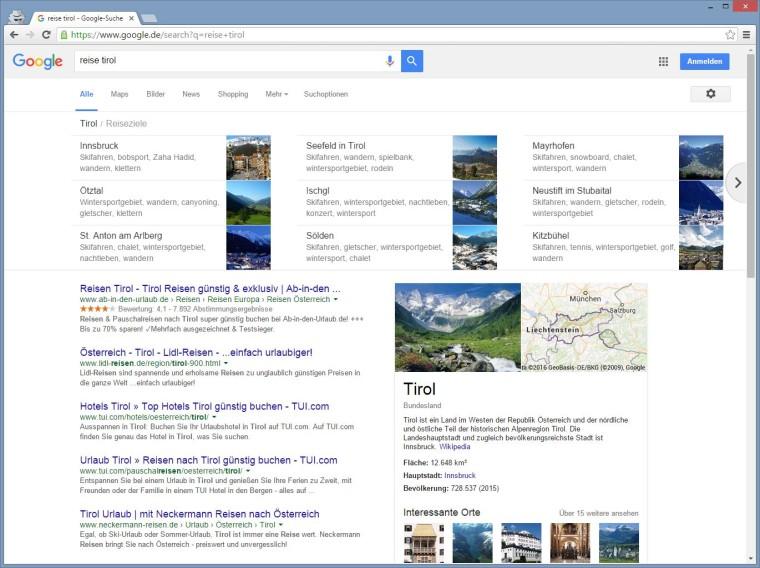 "Google Carousel zu einem Bundesland ""Reise Tirol"""