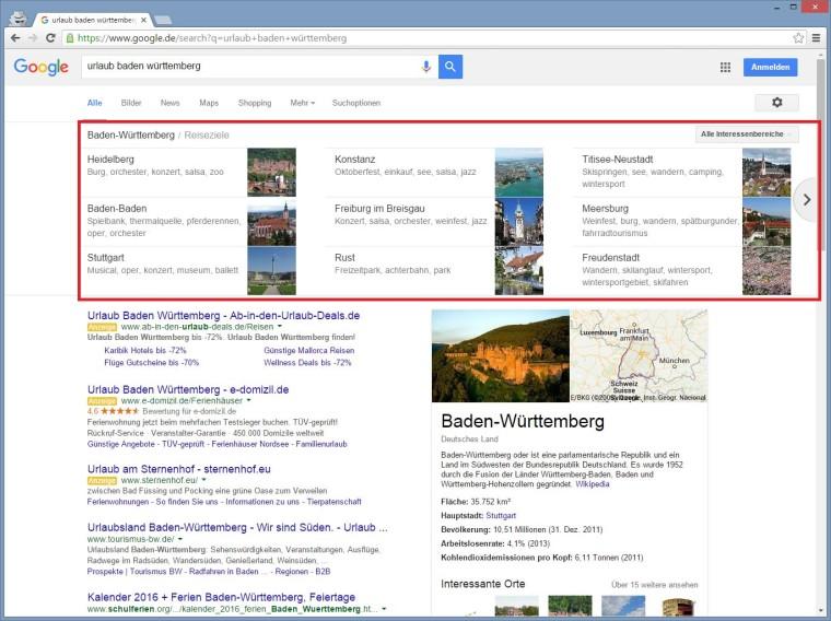 """Google Carousel Suchergebnis zu """"Urlaub Baden Württemberg"""""""