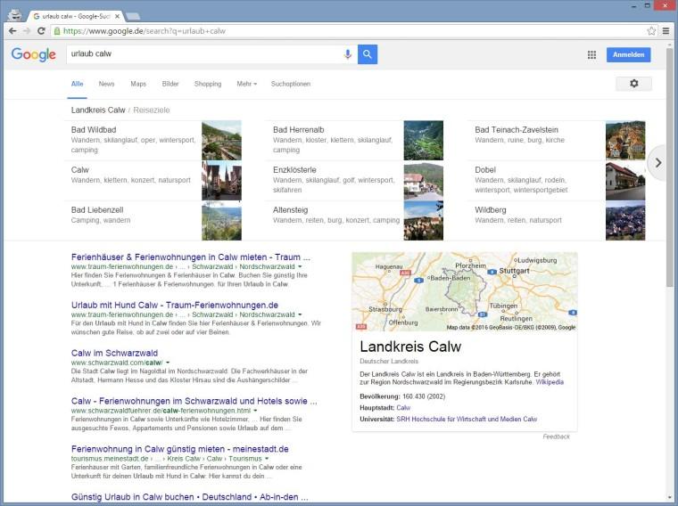 """Google Carousel für den Landkreis Calw zum Keyword """"Urlaub Calw"""""""