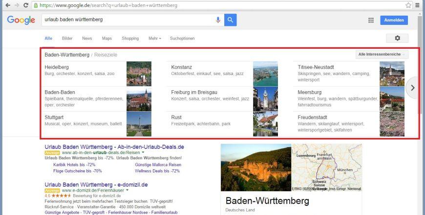 Neu: Google Carousel für Urlaub und Reiseziele