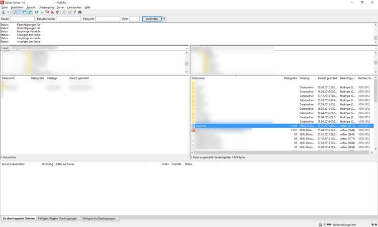 Filezilla: .htaccess-Datei öffnen