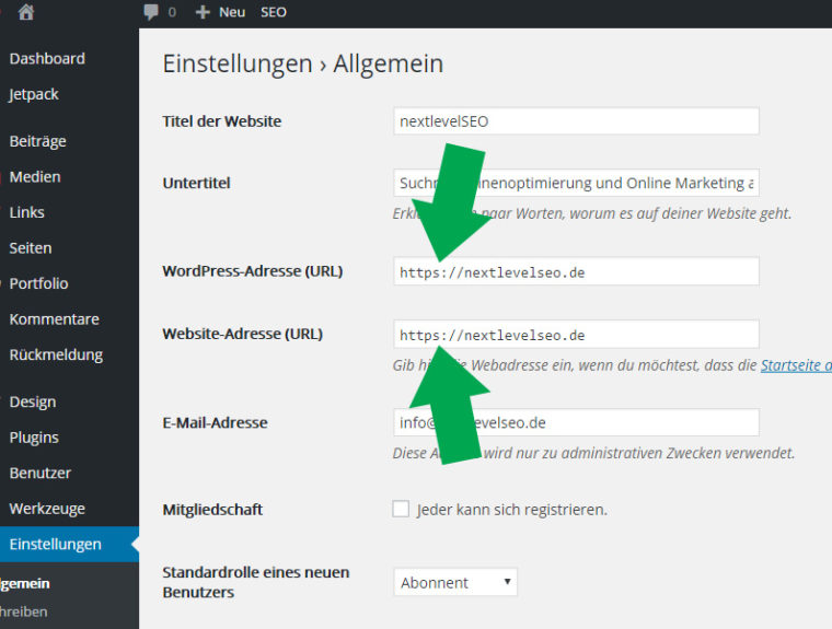 WordPress auf HTTPS/SSL umstellen