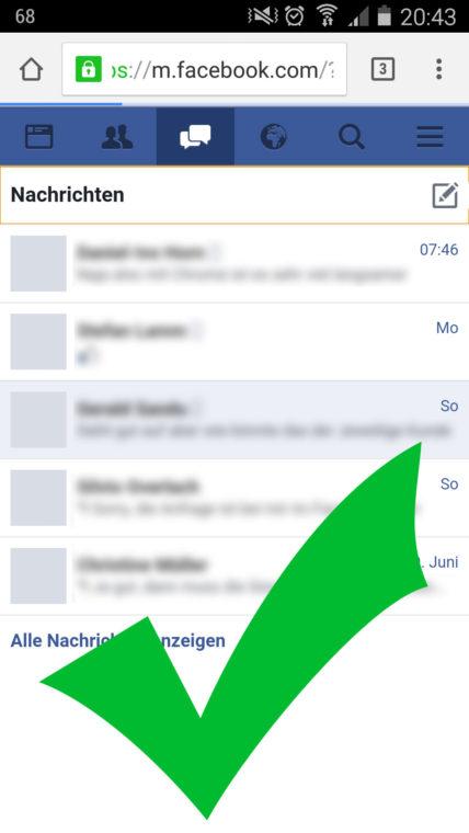 """Mit Google Chrome und """"Desktop-Version anzeigen"""" wird der Nachrichtenbereich wieder freigeschaltet. Eigener Screenshot"""