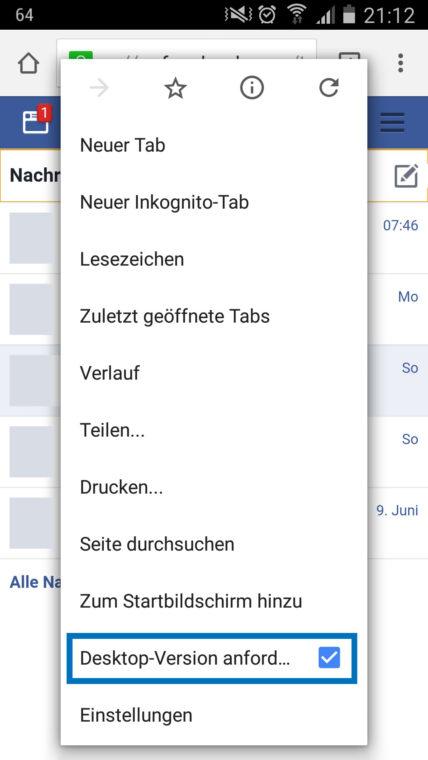 Google Chrome: Desktop-Version anfordern