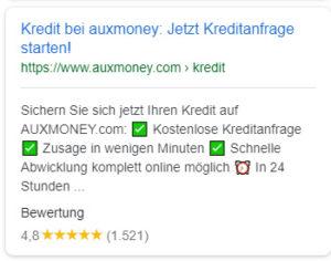 Meta Description mobile für auxmoney.com