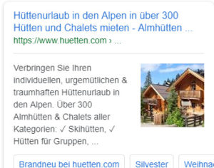 Meta Description mobile für huetten.com